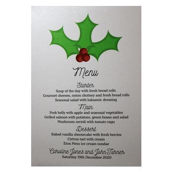 Glitter Arctic White Christmas Holly & Berries Menu Cards