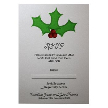 Glitter Arctic White Christmas Holly & Berry RSVP Cards