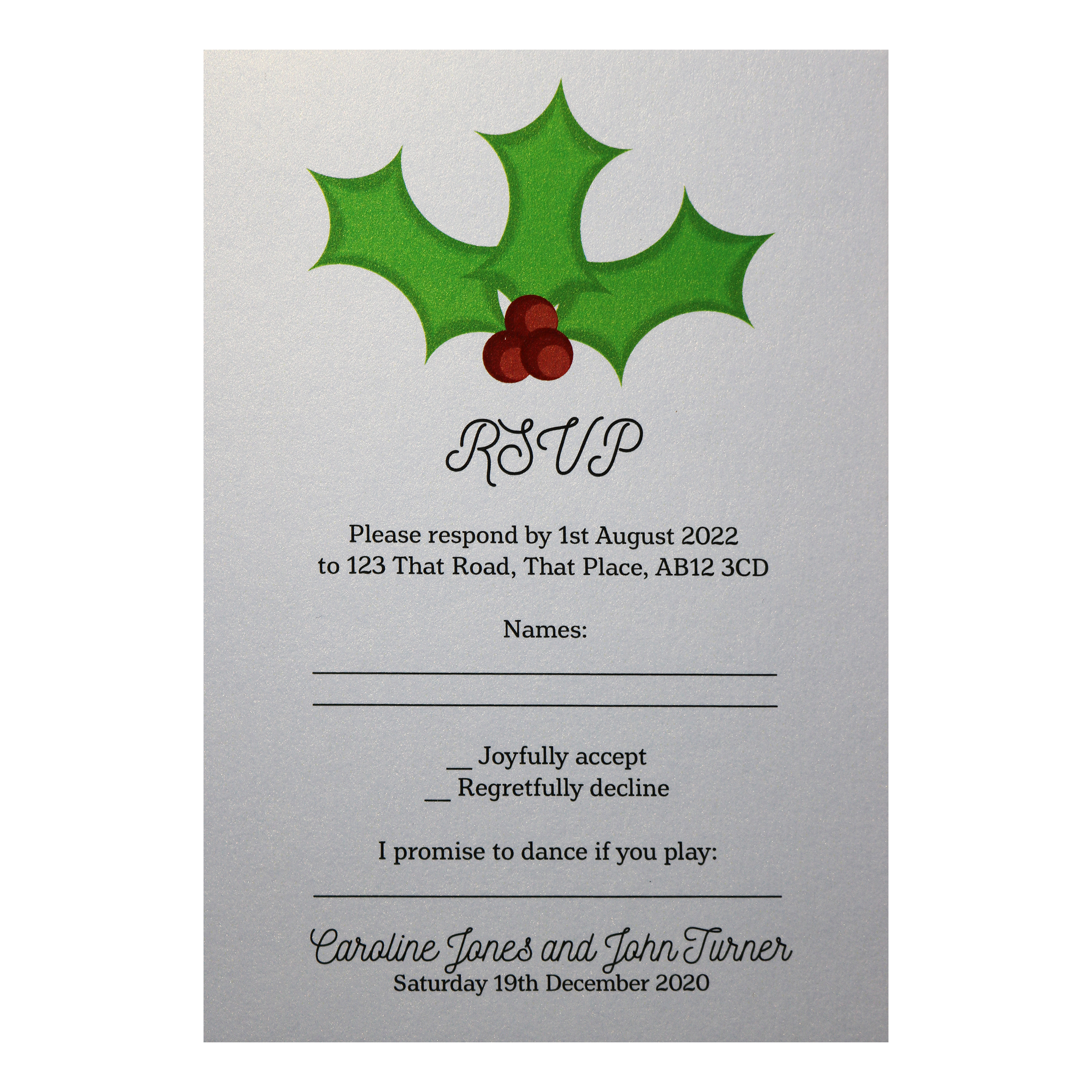 Glitter Arctic White Christmas Holly & Berries Song Request RSVP Cards