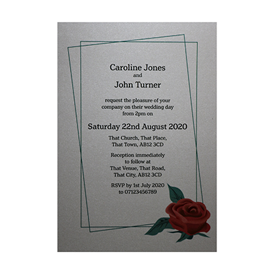 Glitter Arctic White Red Rose Wedding Invitations