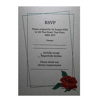 Glitter Arctic White Red Rose Dietary Requirement RSVP Cards
