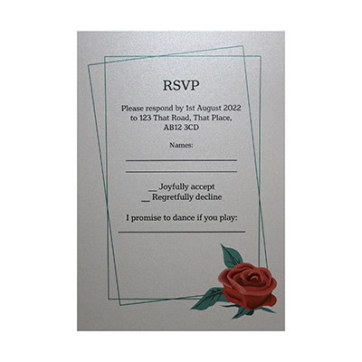 Glitter Arctic White Red Rose Song Request RSVP Cards