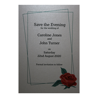 Glitter Arctic White Red Rose Save the Evening Cards