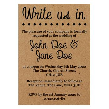 Recycled Brown Kraft Write Pencil Us In Wedding Invitations