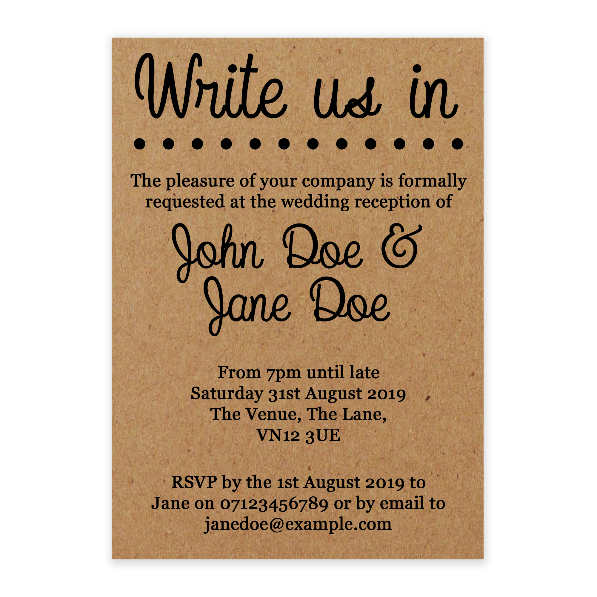 Recycled Brown Kraft Write Pencil Us In Reception Invitations