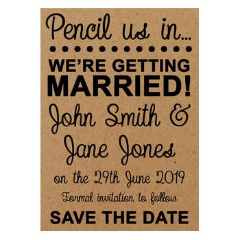 Recycled Brown Kraft Pencil Us In Save the Date Cards
