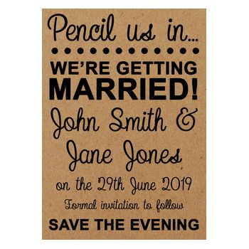 Recycled Brown Kraft Pencil Us In Save the Evening Cards