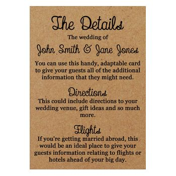 Recycled Brown Kraft Pencil Us In Wedding Guest Information Cards