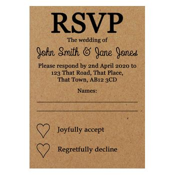 Recycled Brown Kraft Pencil Us In Wedding RSVP Cards