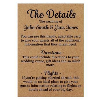 Recycled Brown Kraft We'd Love It Guest Information Cards