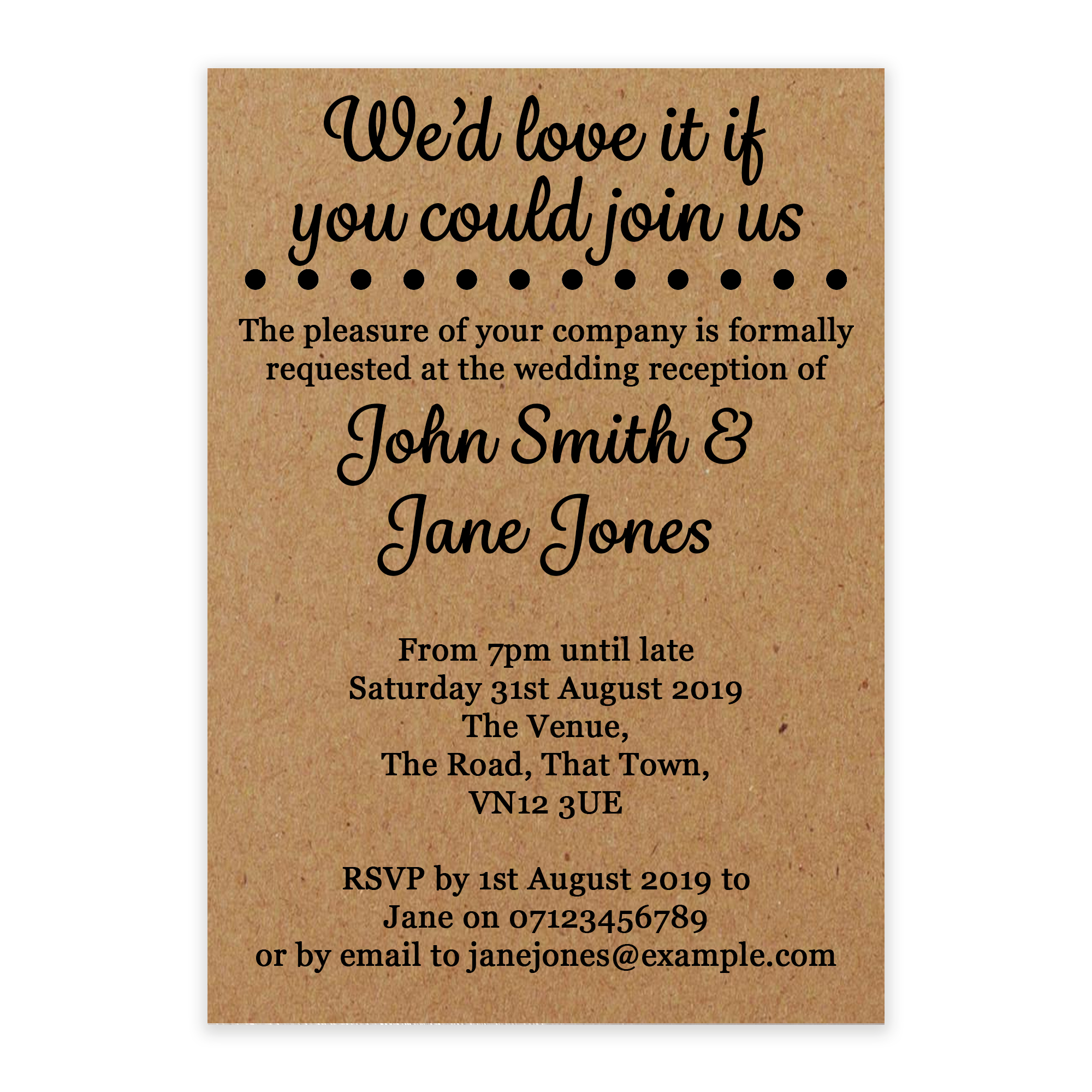 Recycled Brown Kraft We'd Love It Reception Invites