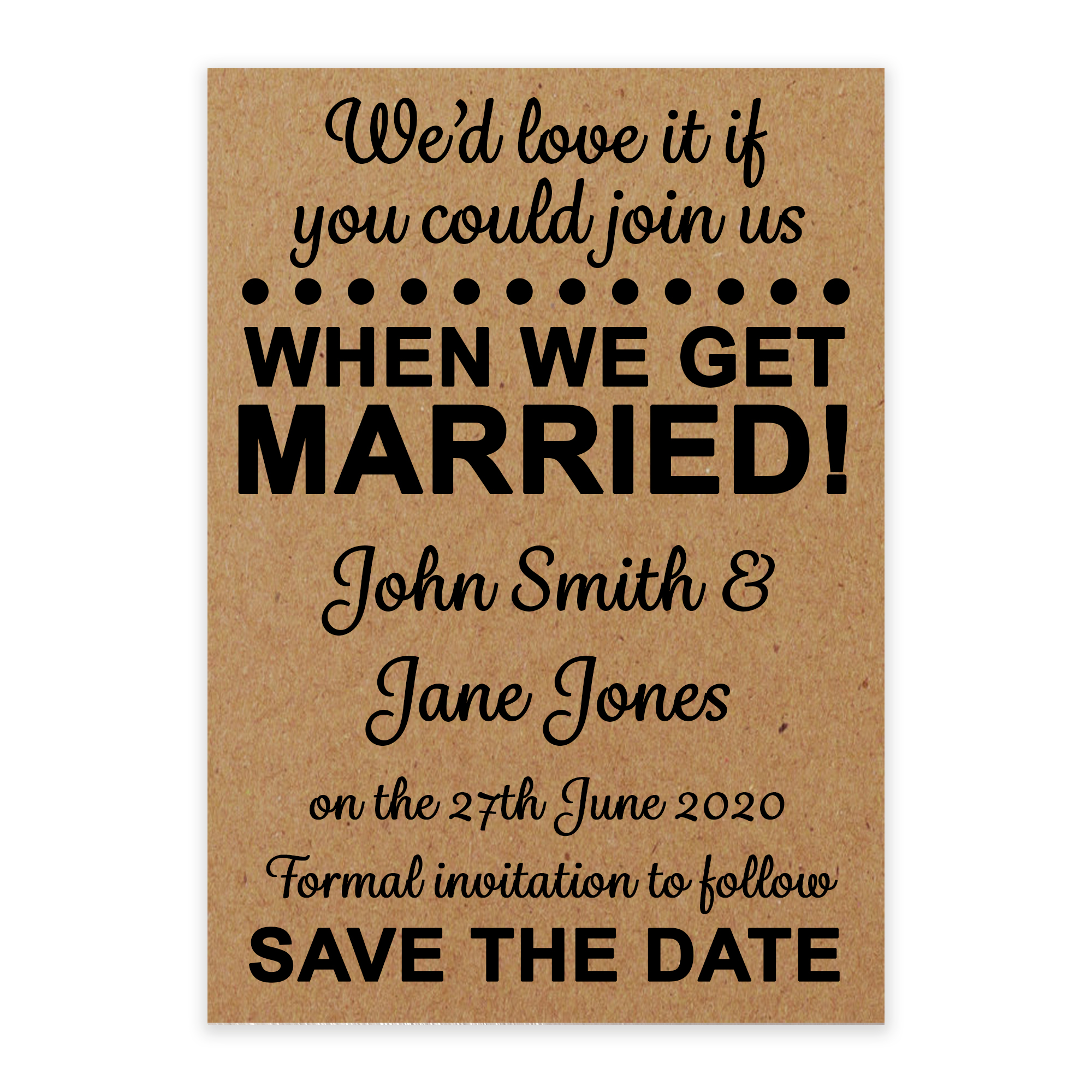 Recycled Brown Kraft We'd Love It Save the Date Cards
