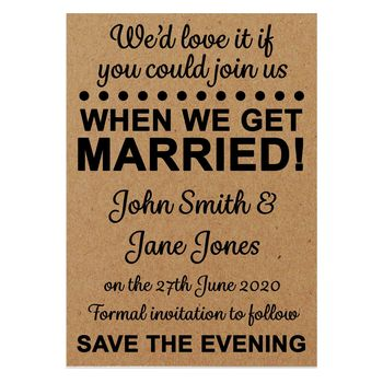 Recycled Brown Kraft We'd Love It Save the Evening Cards