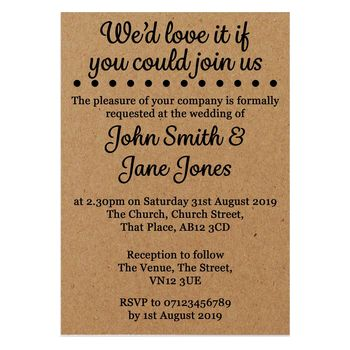 Recycled Brown Kraft We'd Love It Wedding Invites