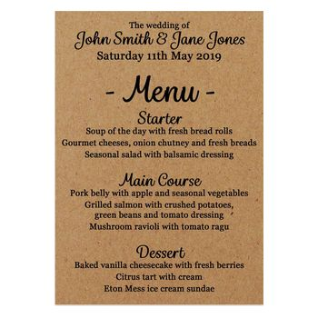 Recycled Brown Kraft We'd Love It Wedding Menu Cards