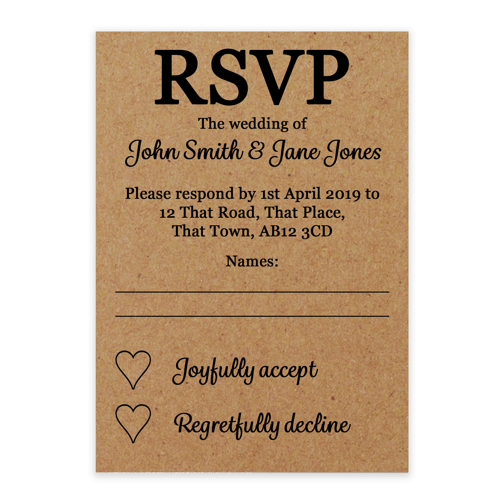 Recycled Brown Kraft We'd Love It Wedding RSVP Cards