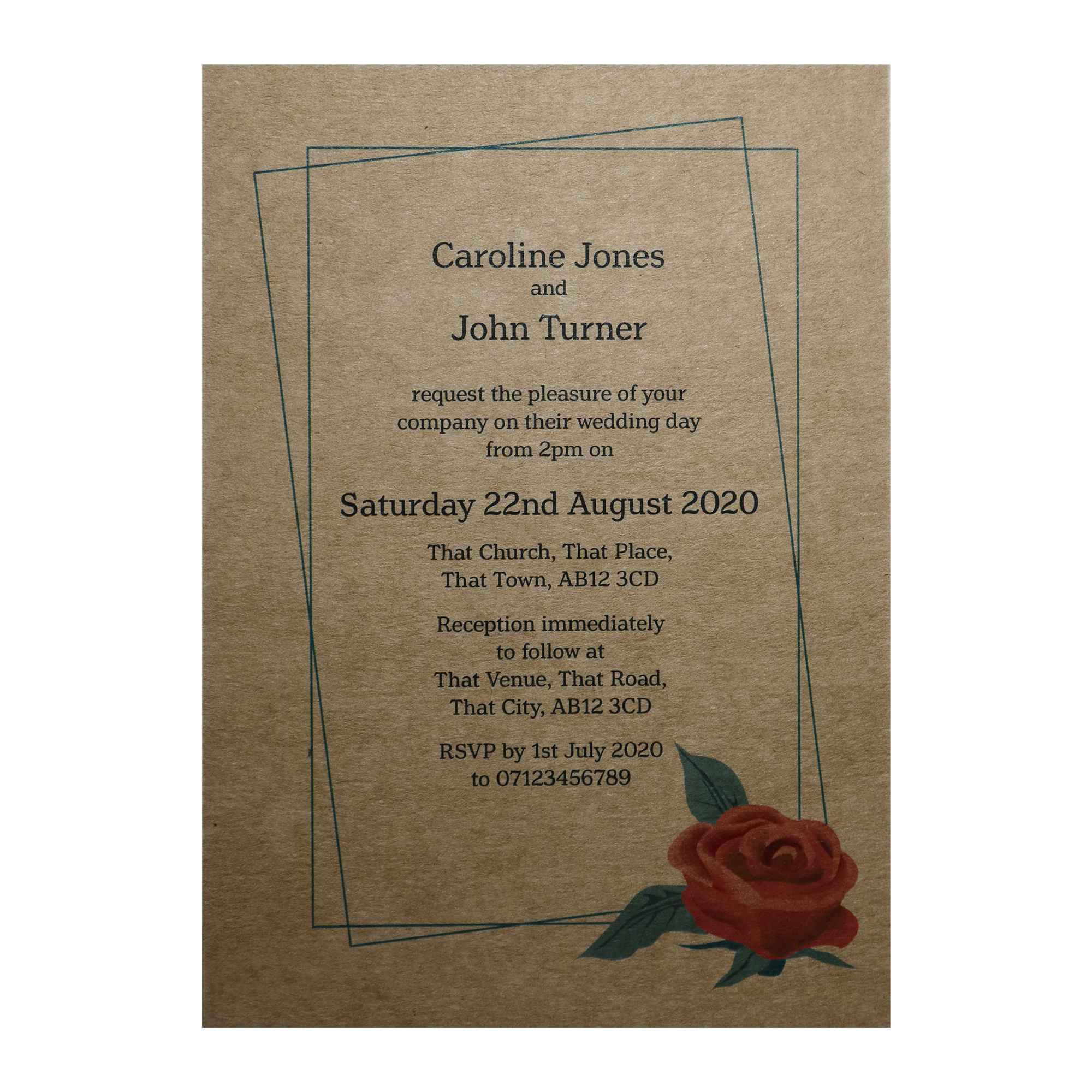 Recycled Brown Kraft Red Rose Wedding Invitations