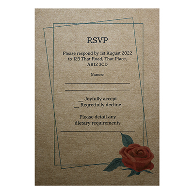 Recycled Brown Kraft Red Rose Wedding RSVP Diet Cards
