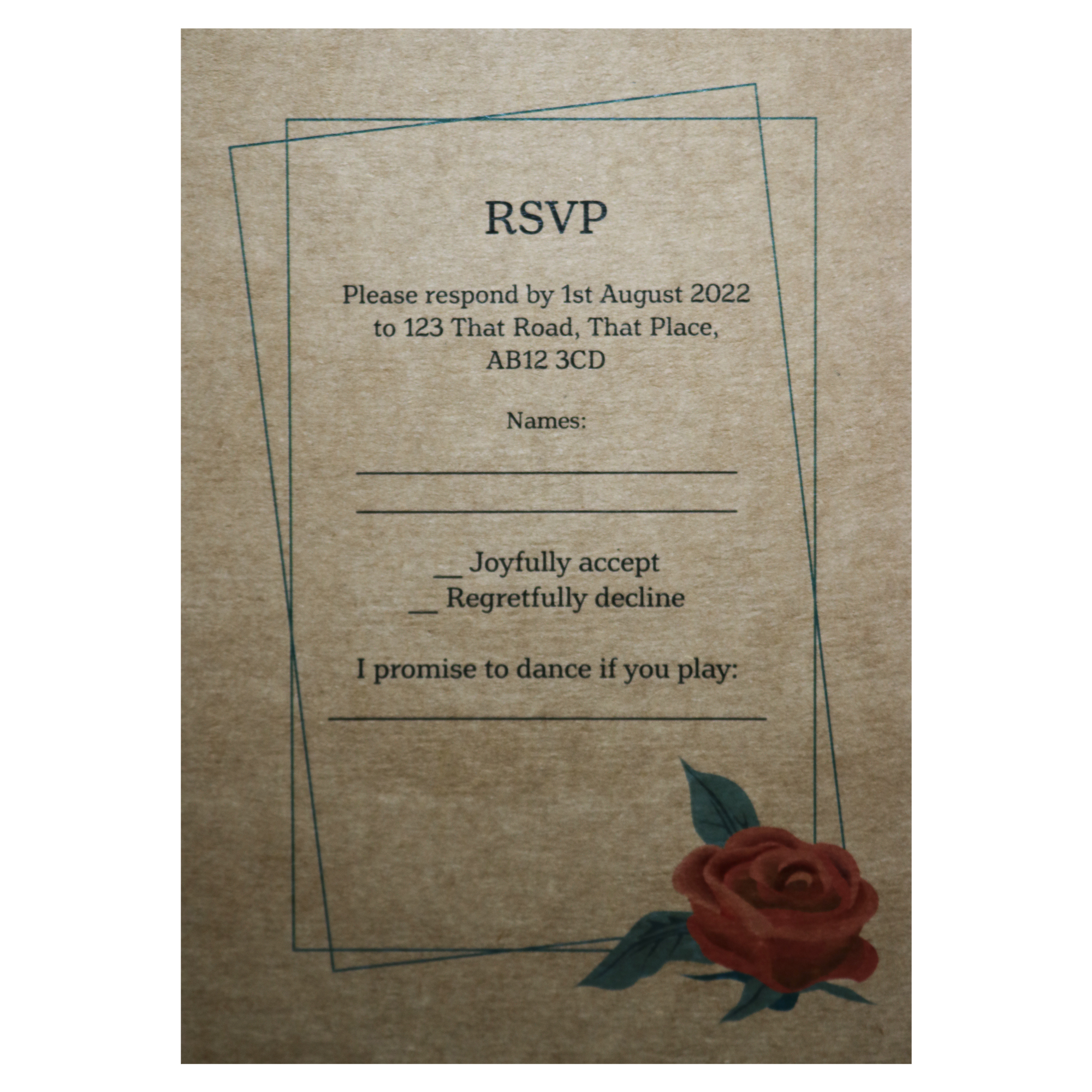 Recycled Brown Kraft Red Rose Wedding RSVP Song Request Cards