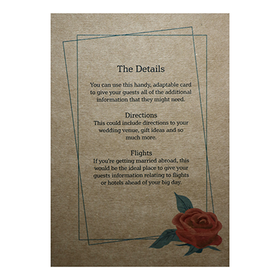 Recycled Brown Kraft Red Rose Guest Information Cards