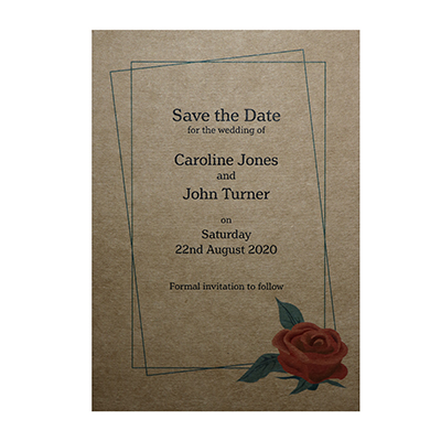 Recycled Brown Kraft Red Rose Save the Date Cards