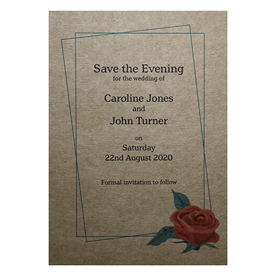 Recycled Brown Kraft Red Rose Save the Evening Cards