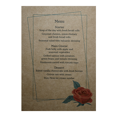 Recycled Brown Kraft Red Rose Wedding Menu Cards