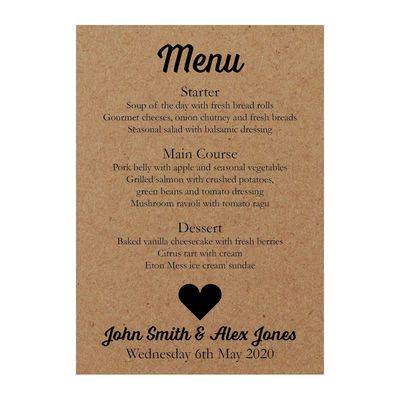 Recycled Brown Kraft Shit Just Got Real Wedding Menu Cards