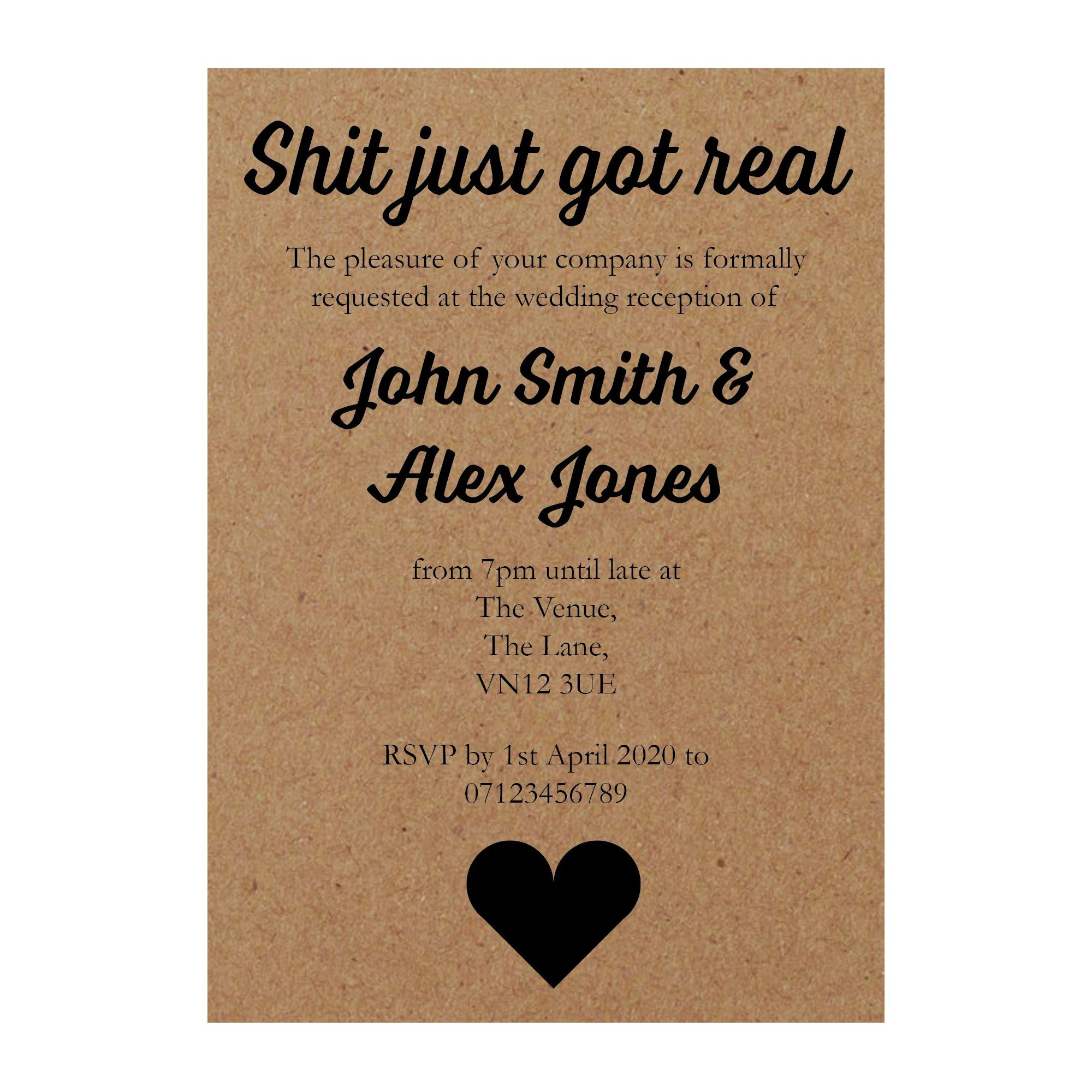 Recycled Brown Kraft Shit Just Got Real Reception Invites