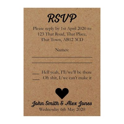 Recycled Brown Kraft Shit Just Got Real Wedding RSVP Cards