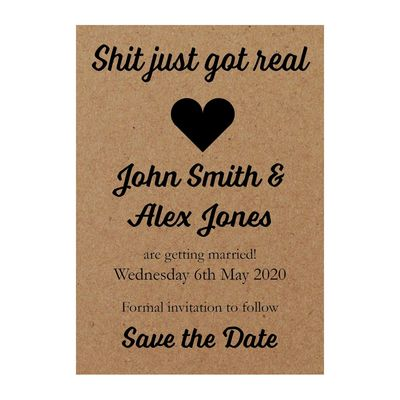 Recycled Brown Kraft Shit Just Got Real Save the Date Cards