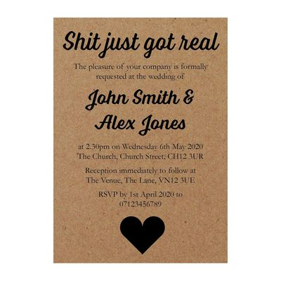 Recycled Brown Kraft Shit Just Got Real Wedding Invites