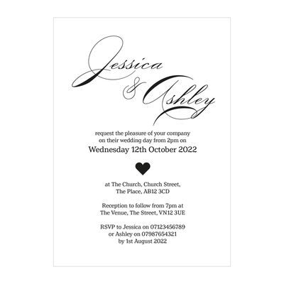 Recycled White Classic Swirl Decorative Wedding Invitations