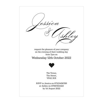Textured White Classic Swirl Decorative Reception Invitations