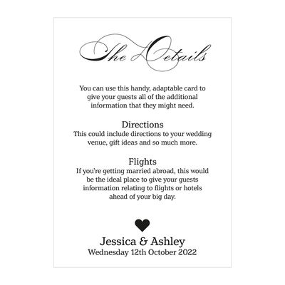 Textured White Classic Swirl Decorative Guest Information Cards