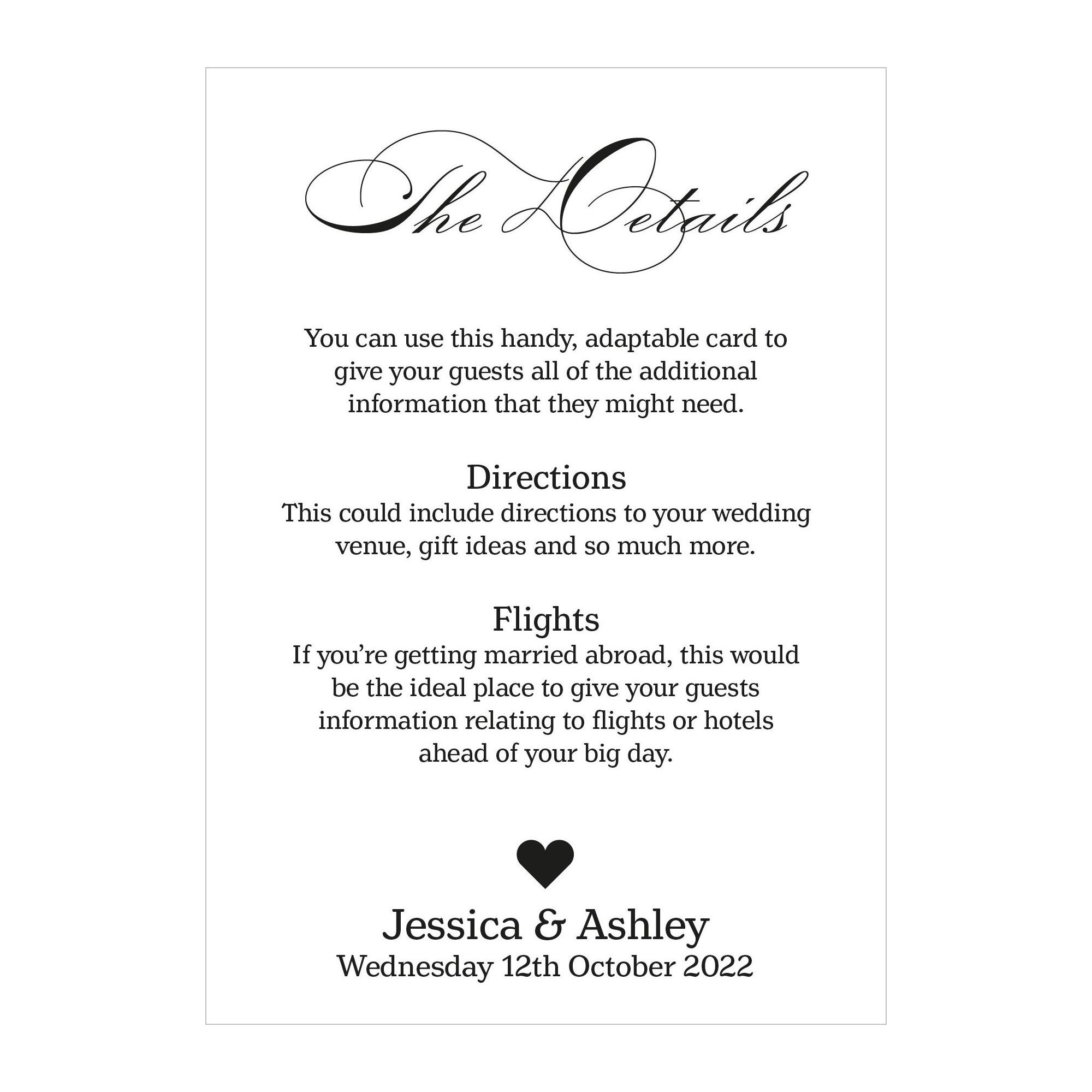 Recycled White Classic Swirl Decorative Guest Information Cards