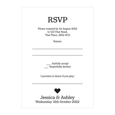 Recycled White Classic Swirl Decorative Song RSVP Cards
