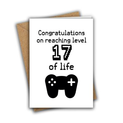 Congratulations On Reaching Level 17 of Life Nerd Geek Gamer A5 Age Birthday Card