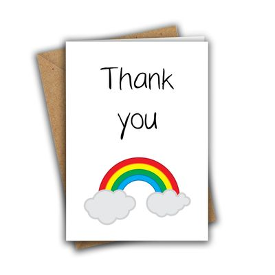 Thank You Rainbow Paper Hug Sweet Cute A5 Greeting Card