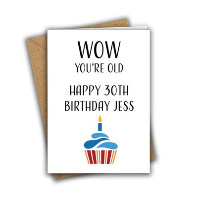 Wow You're Old Personalised A5 Birthday Greeting Card