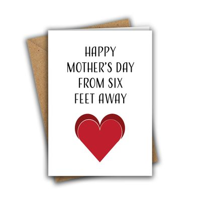 Happy Mother's Day From Six Feet Away A5 Mother's Day Greeting Card