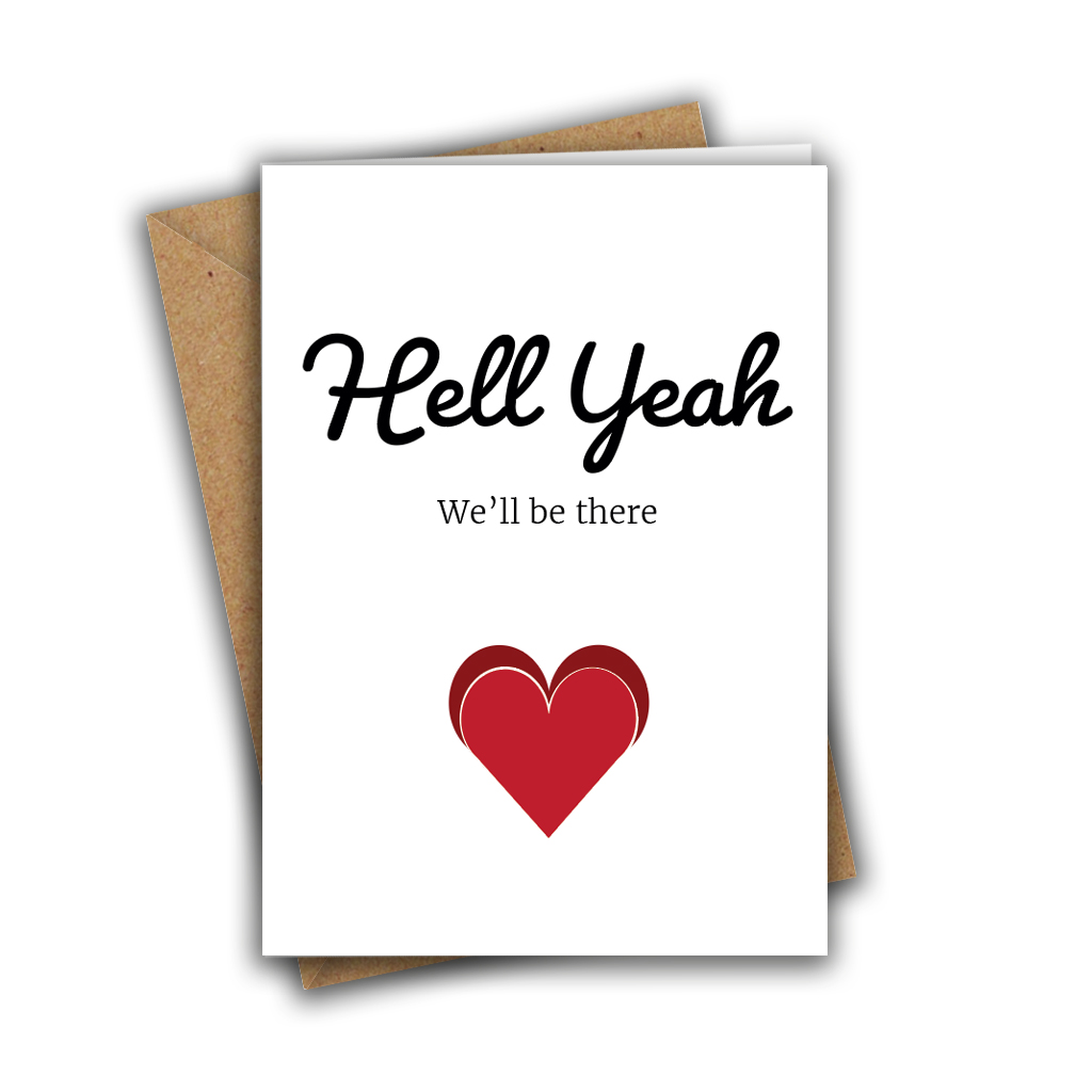 Hell Yeah, We'll Be There Funny Wedding RSVP A5 Greeting Card