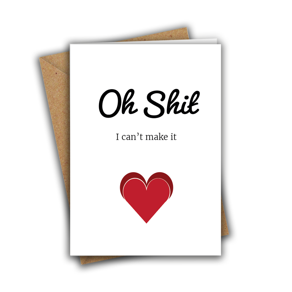 Oh Shit, I Can't Make It Funny Wedding RSVP A5 Greeting Card
