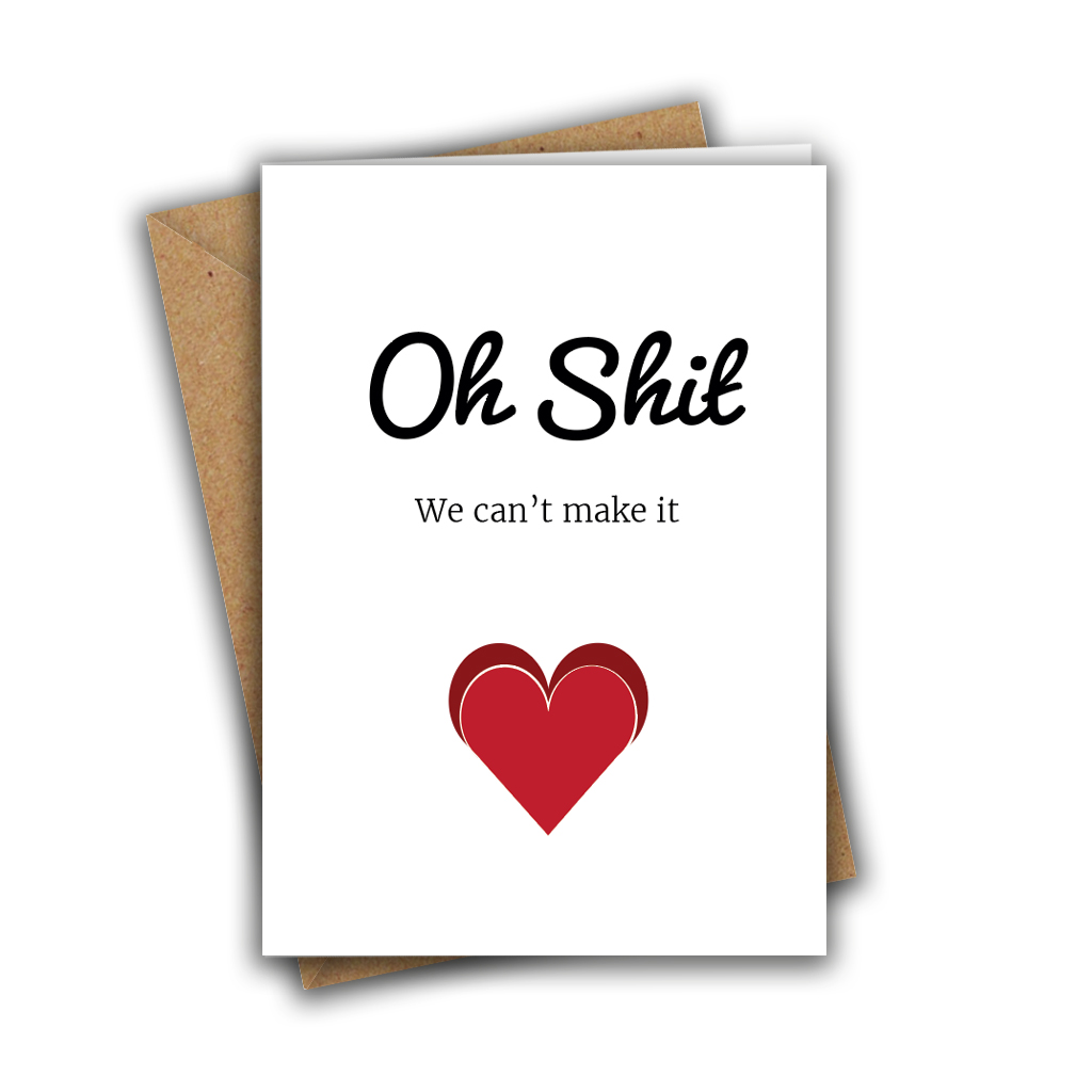 Oh Shit, We Can't Make It Funny Wedding RSVP A5 Greeting Card