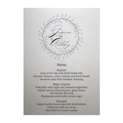 Shimmer Arctic White Rustic Floral Menu Cards
