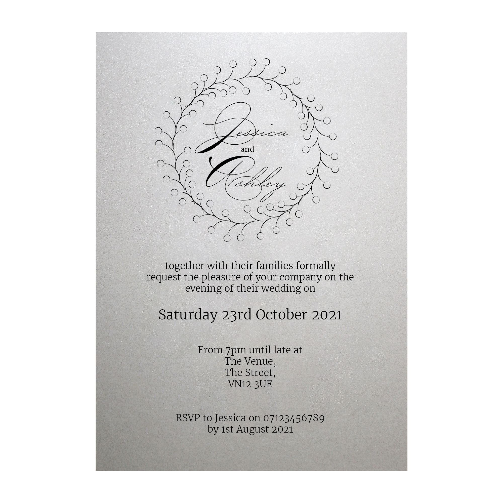 Shimmer Arctic White Rustic Floral Reception Invitations