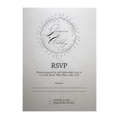Shimmer Arctic White Rustic Floral RSVP Cards