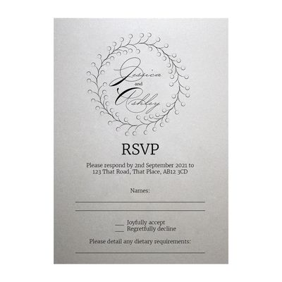 Shimmer Arctic White Rustic Floral RSVP Dietary Requirement Cards