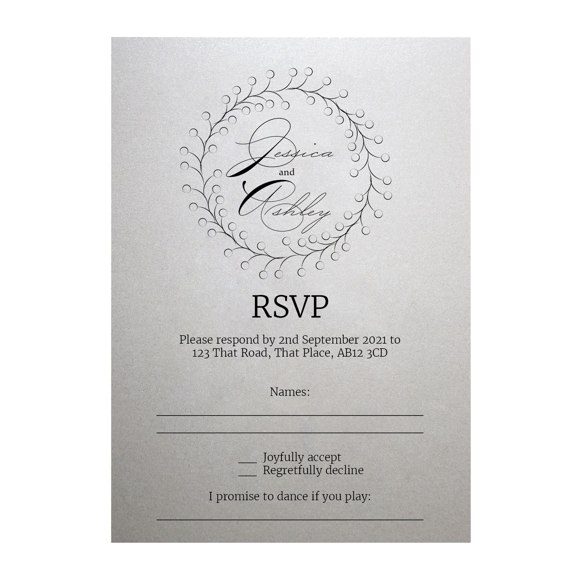Shimmer Arctic White Rustic Floral RSVP Song Request Cards