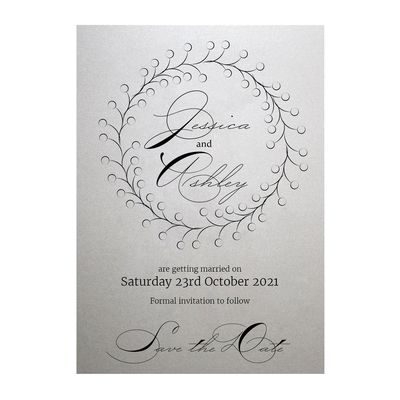 Shimmer Arctic White Rustic Floral Save the Date Cards